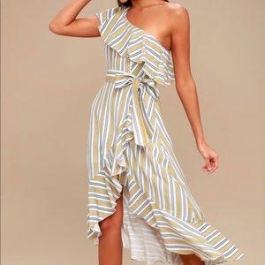 One shoulder, yellow striped midi dress. Lulu's